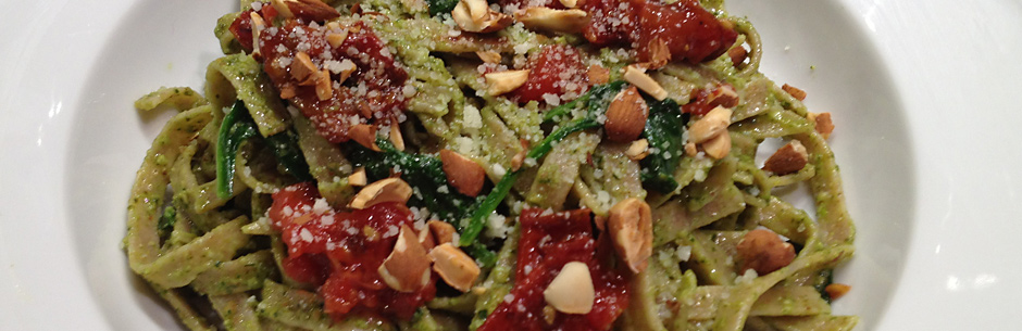 Healthy Homemade Pasta with Spinach Almond Pesto