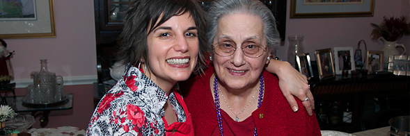 Me and Gram. My teacher. My mentor. My inspiration. My light. Here we are at her 90th birthday party/Carnivale (February 2009). 30+ of us ate a couple hundred of the ravioli we made in the other picture above. She was so happy that day. Gram passed the following August.